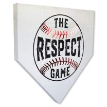 """COLLECTIBLE CANVAS Respect The Game Home Plates with Gold Foil, Sports, Wall Art for Bedroom, Nursery, and Other Parts of The House Or Dorm, Wall Decorations with Baseball 17"""" x 17"""" x 1.5"""""""