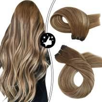 Moresoo Hair Weft Human Hair Extensions Straight Sew in Hair Bundles Balayage #4 Dark Brown and #27 Caramel Blonde Thick Hair Extensions Weft Bundles 24 Inch Silky Weave in Extensions 100 Gram