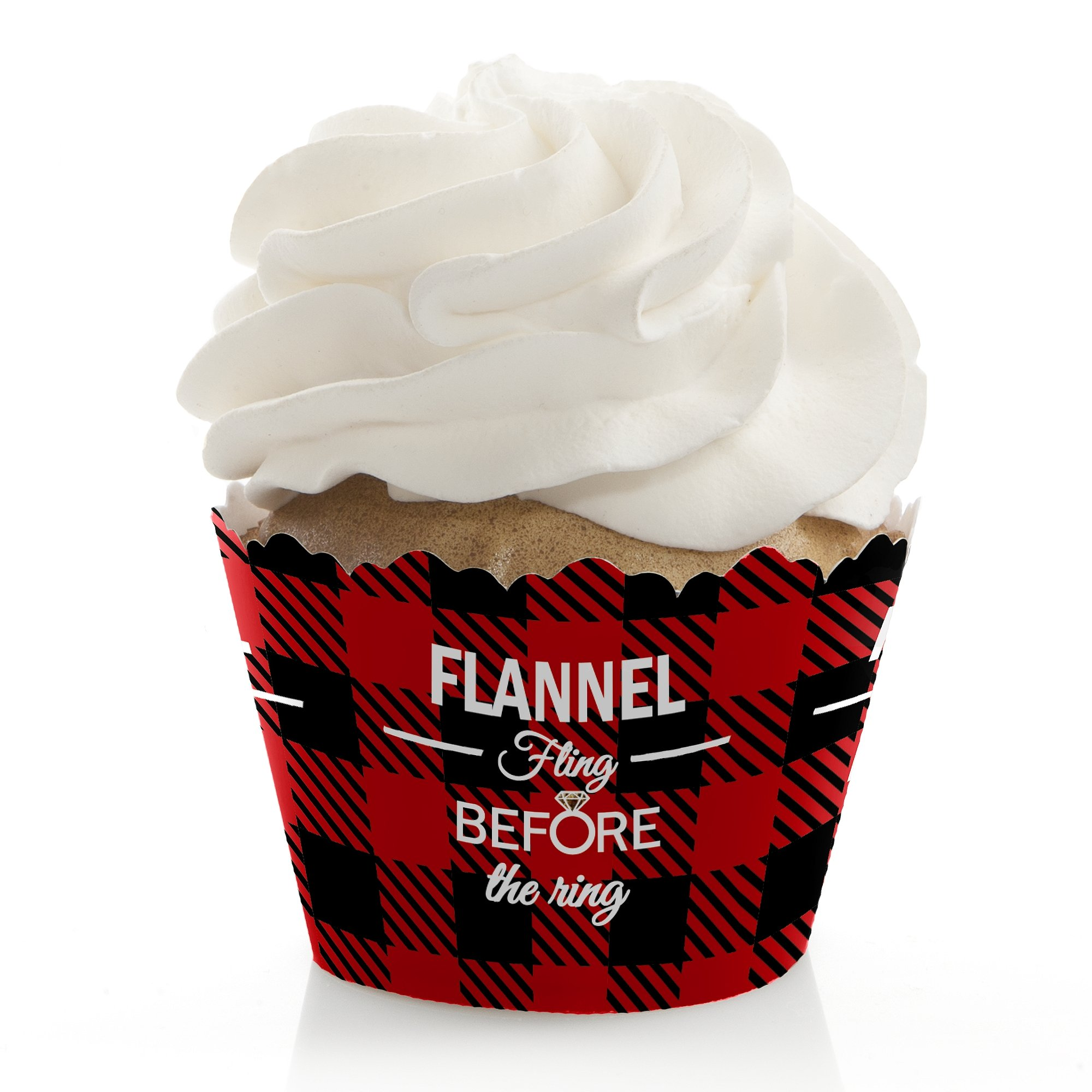 Big Dot of Happiness Flannel Fling Before the Ring - Buffalo Plaid Bachelorette Party Decorations - Party Cupcake Wrappers - Set of 12
