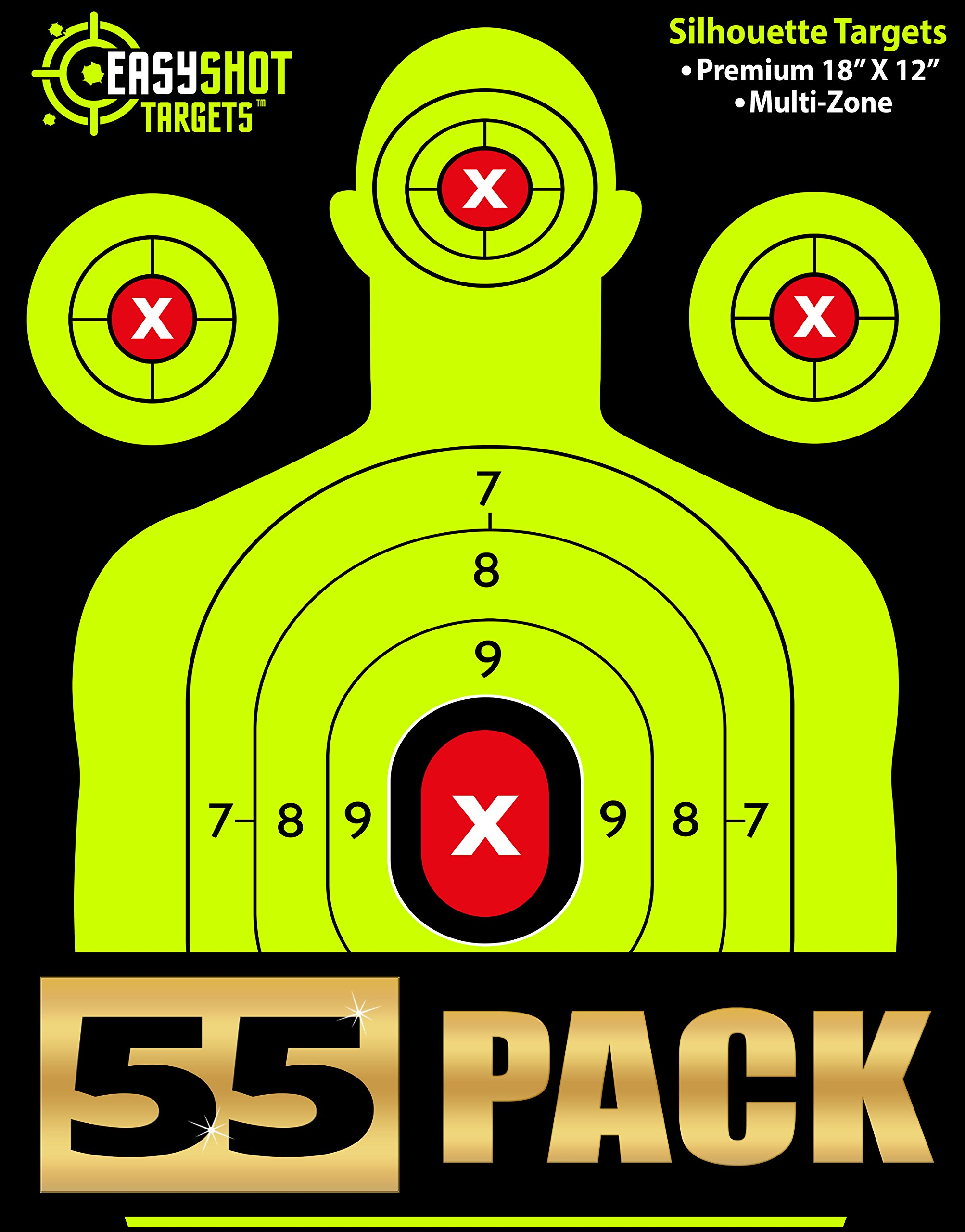 """""""55-Pack"""" EASYSHOT Shooting Targets 18 X 12 inch. Shots are Easy to See with Our High-Vis Neon Yellow & Red Colors. Thick Silhouette Paper Sheets for Pistols, Rifles, BB Guns, Airsoft & More."""