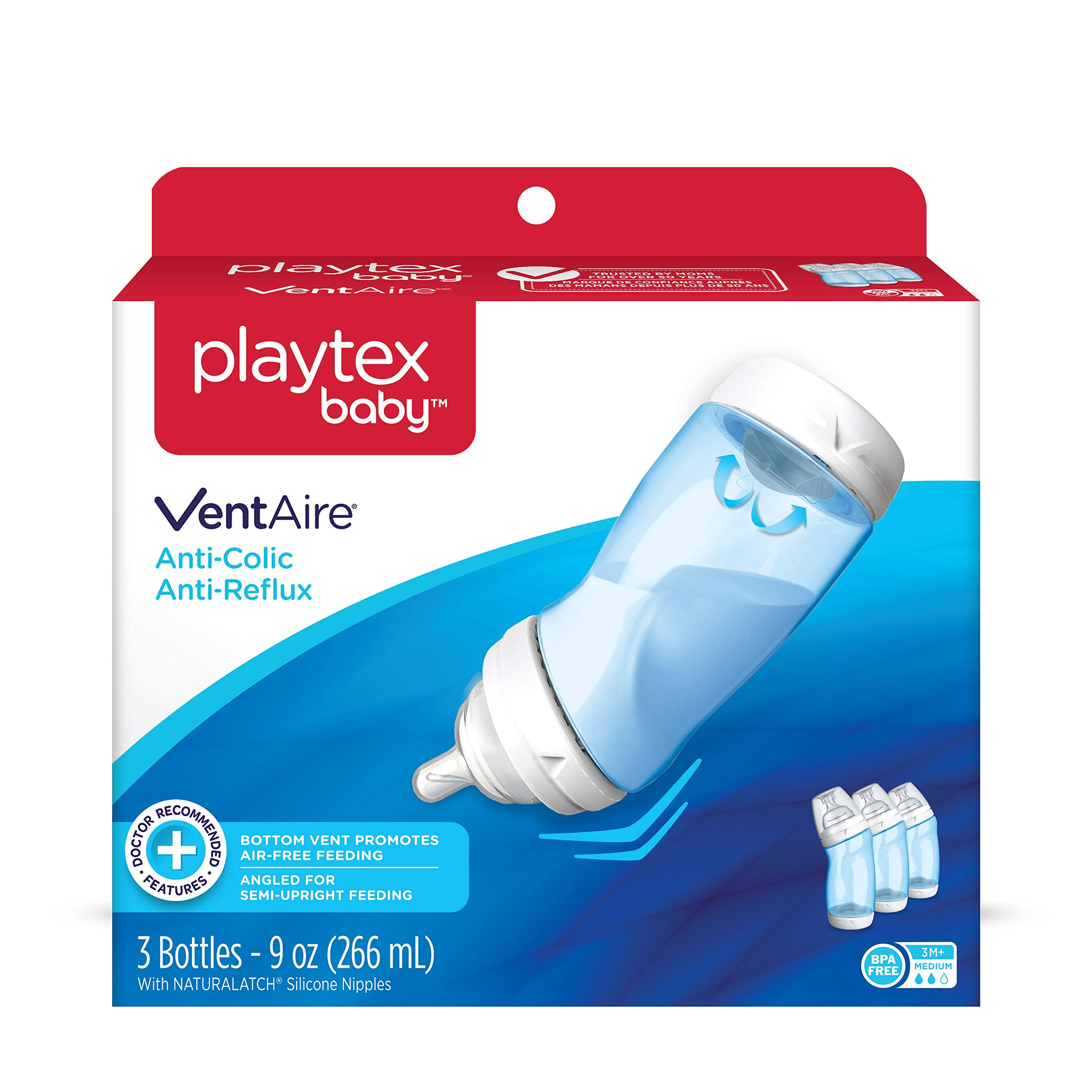Playtex Baby VentAire Bottle for Boys, Helps Prevent Colic and Reflux, 9 Ounce Blue Bottles, 3 Count