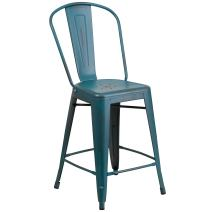 Flash Furniture 24'' High Distressed Kelly Blue-Teal Metal Indoor-Outdoor Counter Height Stool with Back