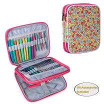 Teamoy Organizer Case for Interchangeable Circular Knitting Needles, Crochet Hooks and Knitting Accessories, Keep All in One Place and Easy to Carry, Flowers Pink (No Accessories Included)