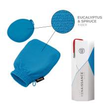 Renaissance Glove a body Exfoliating Mitt with face scrubbing accessory by Daniele Henkel – Vegan more effective & resistant than a loofah, brush or scrub sponge bath -100% natural (Zenith Blue)