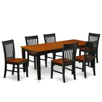 7Pc Rectangle 60/78 Inch Dining Table With 18 In Leaf And 6 Wood Seat Dining Chairs