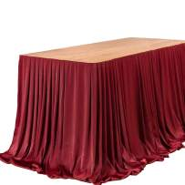 Ling's moment 9FT Table Skirt Extra Long Tablecloth for Wedding Sweetheart Table Reception Table Bridal Shower Birthday Party Cake Table Decoration, Burgundy