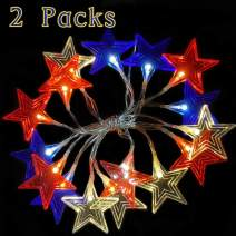 2 PCS 7.6Ft LED Red White Blue String Lights 16 LEDs Indoor Decor with 8 Modes Battery Operated by AY