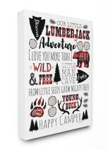 Stupell Home Décor Our Little Lumberjack Typography Stretched Canvas Wall Art, 16 x 1.5 x 20, Proudly Made in USA