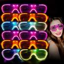 M.best Light Up Glow Glasses, 12 Pack Glow in The Dark LED Shutter Shades Sunglasses Party Supplies for Kids or Adults (A Style)