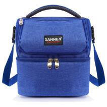 Kinnet Insulated Double Decker Cooler Lunch Box Lunch Bag with Removable Shoulder Strap for Men, Women(Blue)
