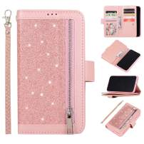 EYZUTAK Wallet Case for iPhone 11 Pro 5.8 inch 2019,Magnetic Handbag Zipper Pocket PU Leather Flip with 9 Card Slots and Wrist Strap Folio TPU Inner Stand Case - Rose Gold