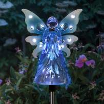 """Exhart Solar Garden Stake Lights – Blue Acrylic Angel Stake Memorial Gift w/ 12 Solar LEDs in The Wings - Solar Angel Lights Perfect as Angel Remembrance Gifts & Sympathy Gifts (4"""" W x 34"""" H)"""