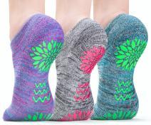 3 pairs LUCKAYA Bamboo Yoga Pilates Barre, Hospital, Maternity anti-slip socks in a gift box!