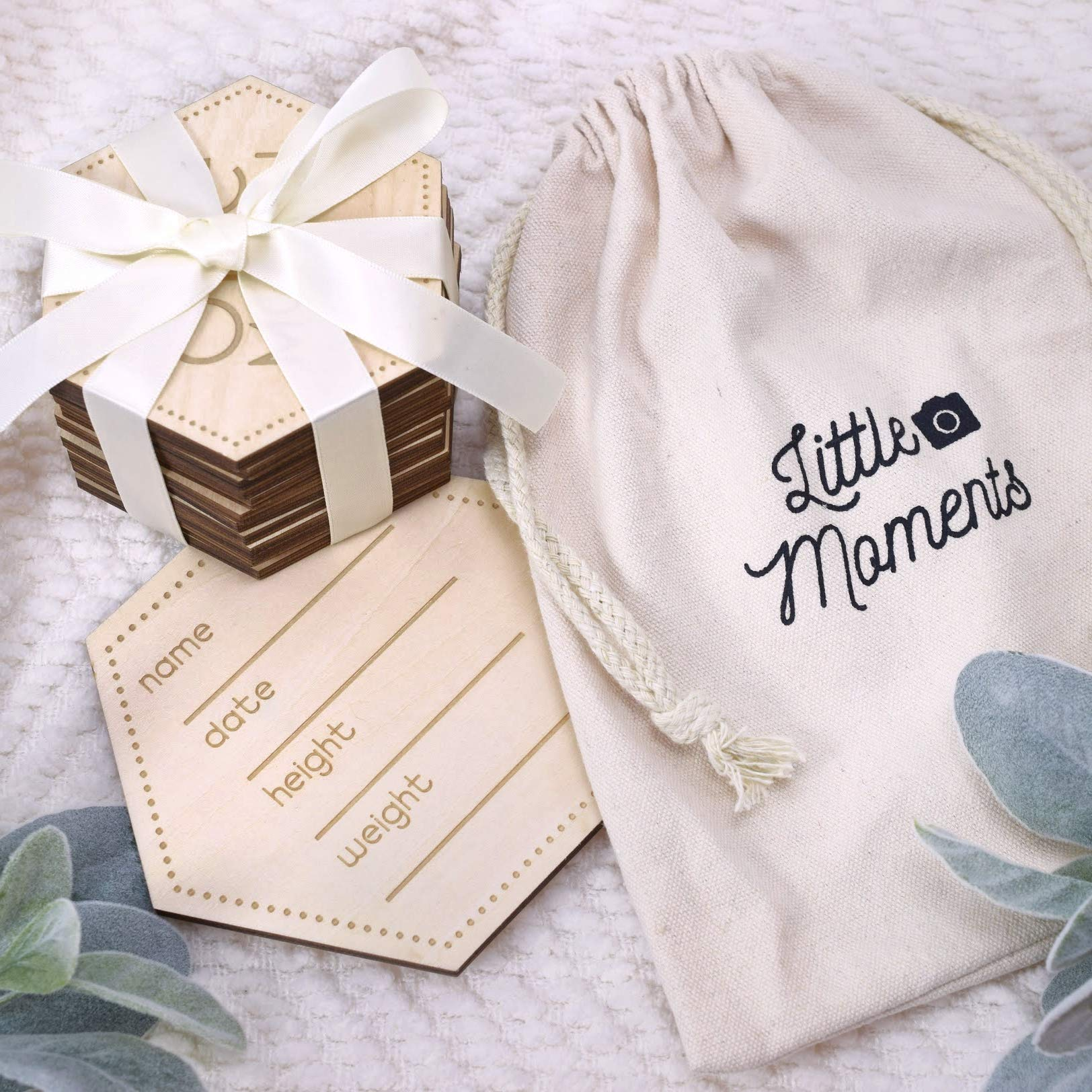 Super Cute, Unisex Wooden Baby Monthly Cards. Reversible, Laser Engraved Blocks Set of 24 Sayings Plus a Customizable Birth Card. Natural Wood Disc Photo Props for Boy or Girl in Keepsake Gift Bag.