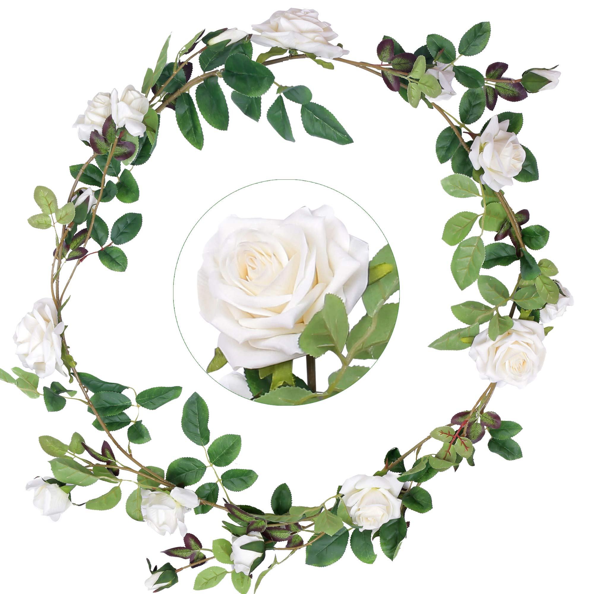Greentime 5.9 FT Artificial Velvety Rose Vine Fake Silk Rose Flower Garland Faux Hanging Ivy Plants for Wedding Arch Home Garden Party Wall Decor (Cream)