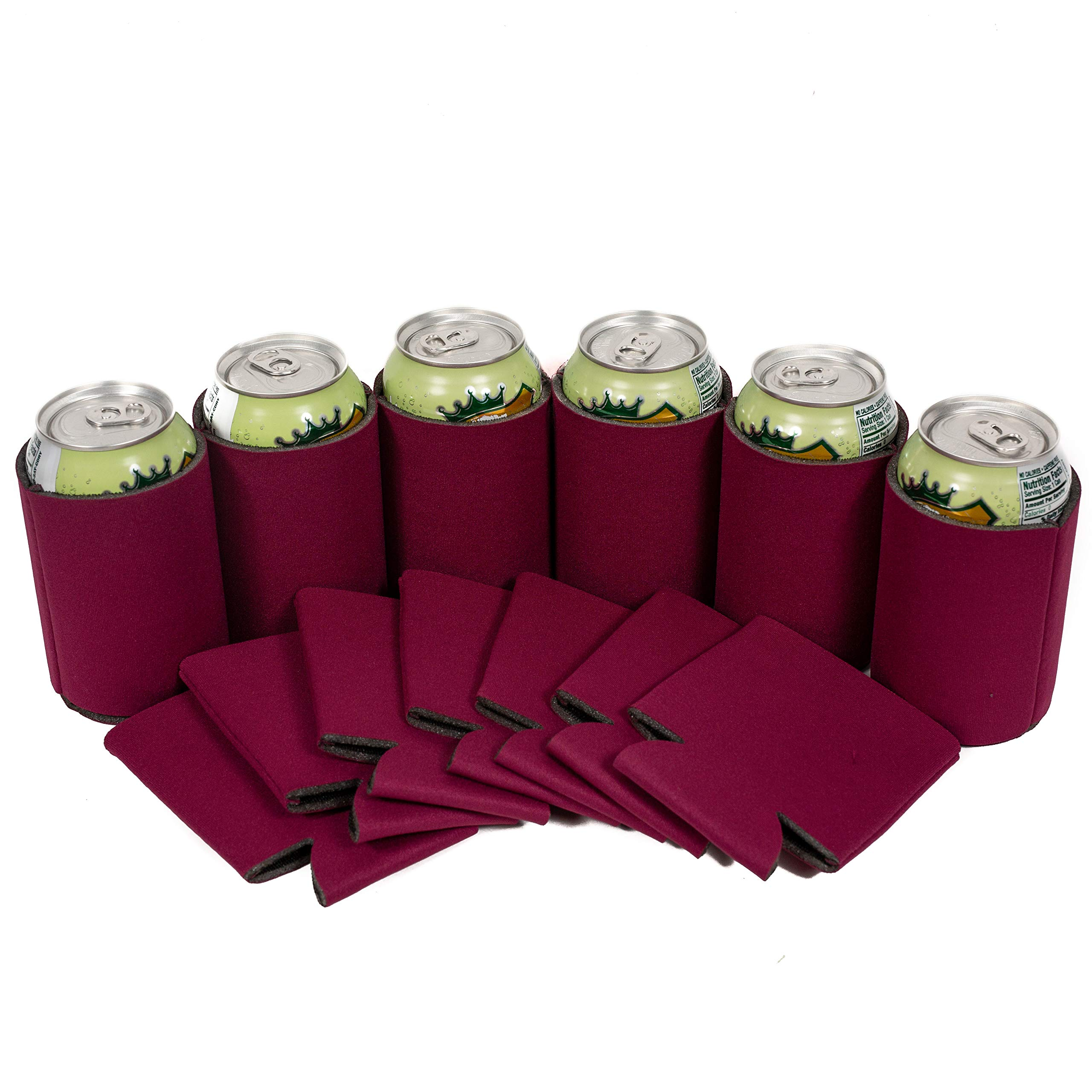 QualityPerfection 25 Burgundy Party Drink Blank Can Coolers(12,25,50,100,200 Bulk Pack) Blank Beer,Soda Coolies Sleeves   Soft,Insulated Coolers   30 Colors   Perfect For DIY Projects,Holidays,Events