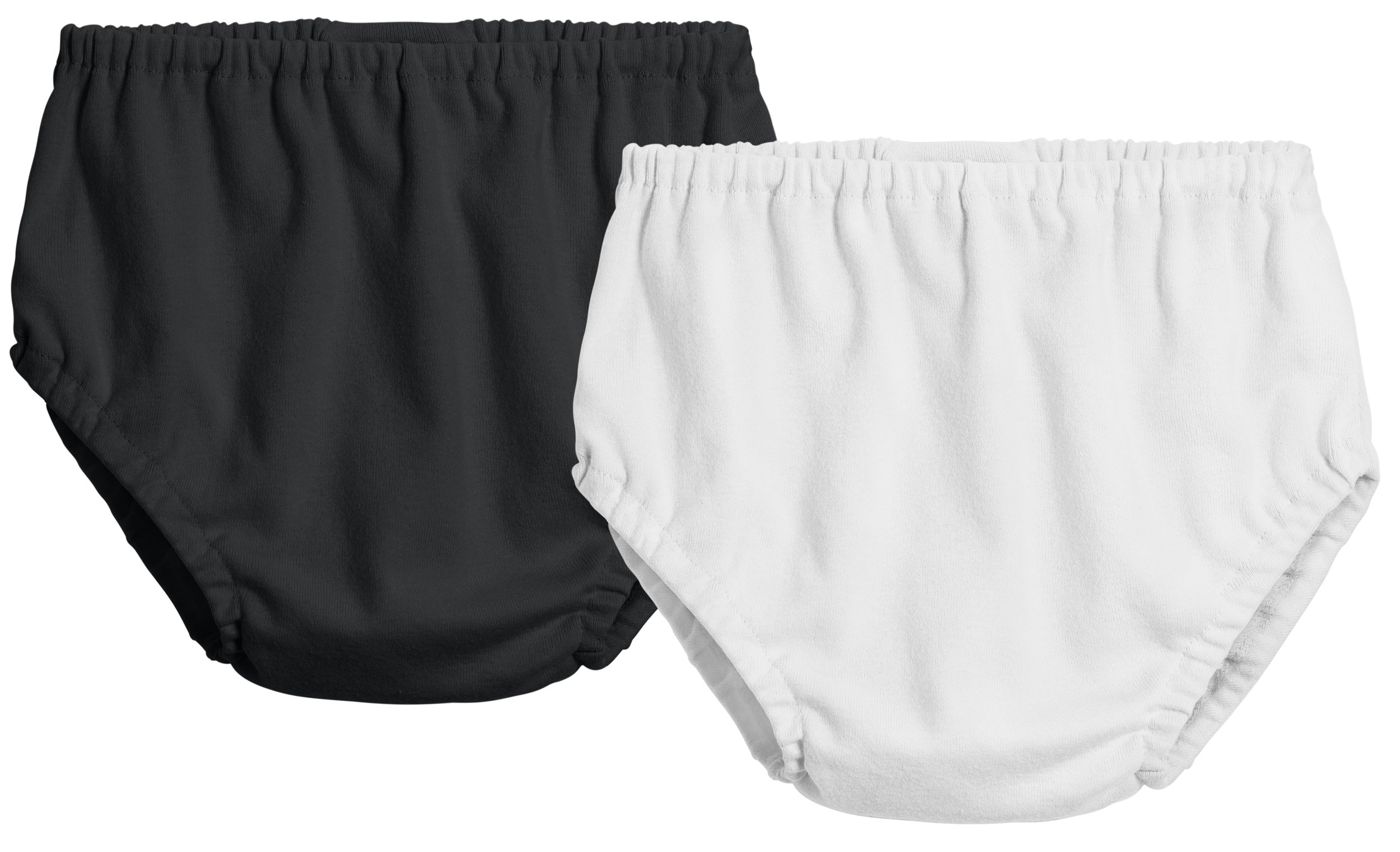 City Threads 2-Pack Baby Girls' and Baby Boys' Unisex Diaper Covers Bloomers Soft Cotton, Black/White, 0/3 m