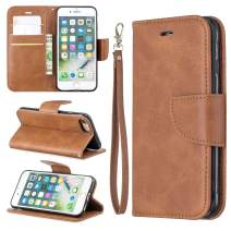 EYZUTAK Wallet Case for iPhone 6 Plus/6S Plus, Soft Printed PU Leather Phone Case Full Protection Solid Color Magnetic Flip Buckle Case Kickstand Cover for iPhone 6 Plus/6s Plus - Brown
