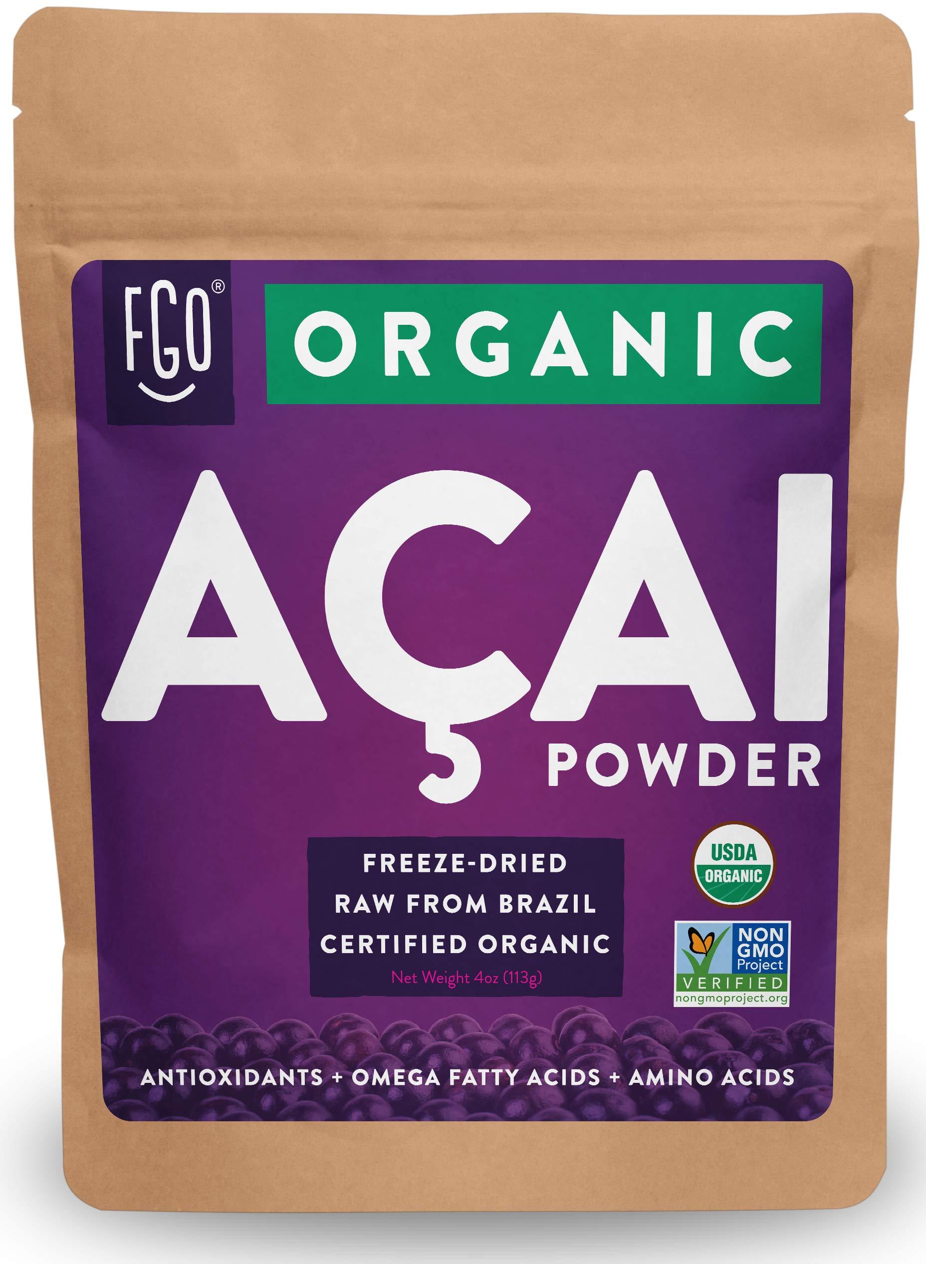 Organic ACAI Powder (Freeze-Dried)   4oz Resealable Kraft Bag   100% Raw Antioxidant Superfood Berry From Brazil   by FGO