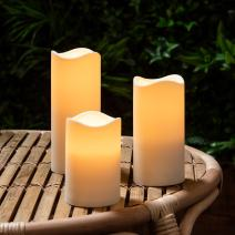 Lights4fun, Inc. Set of 3 Outdoor Fully Weatherproof Battery Operated LED Flameless Candles with 6 Hour Timer