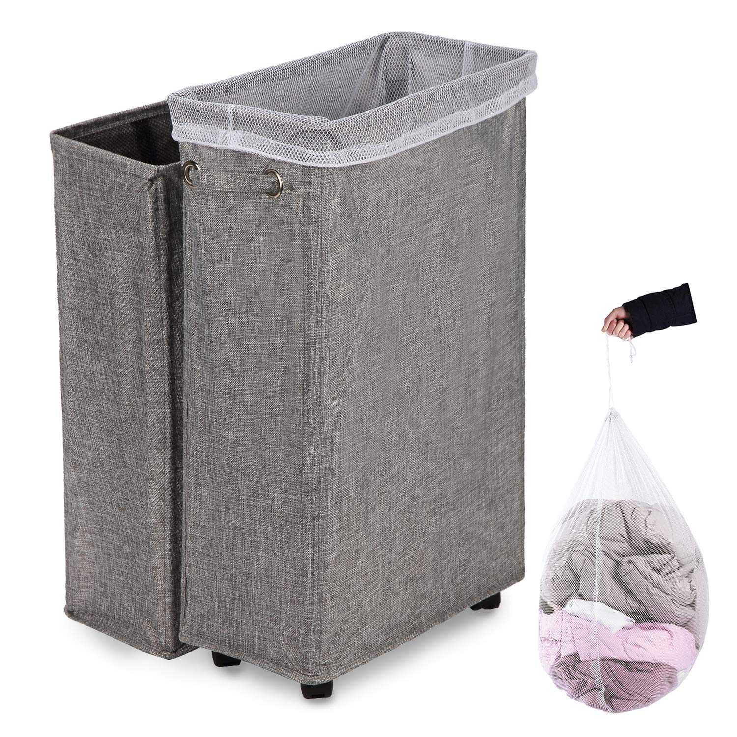Caroeas Laundry Hamper 27 Burlap Rolling Laundry Hamper Collapsible Tall Slim Laundry Basket With Breathable Wash Bag Waterproof Dustproof Laundry Cart On Wheels Grey Linen
