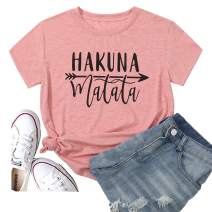 Women's Hakuna Matata Shirt Short Sleeve Gift for Christmas Graphic Tees Funny Summer Love T Shirts Casual Blouse Tops