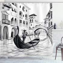 "Ambesonne Sketchy Shower Curtain, Gondola in Venice European Famous Canal History Mediterranean Holiday Image, Cloth Fabric Bathroom Decor Set with Hooks, 70"" Long, Black and White"