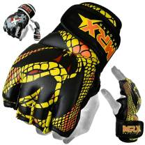 MRX MMA Grappling Gloves Cage Boxing Fight, Snake Design Black/Yellow (Small)