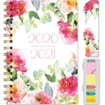 """HARDCOVER Academic Year 2020-2021 Planner: (June 2020 Through July 2021) 5.5""""x8"""" Daily Weekly Monthly Planner Yearly Agenda. Bonus Bookmark, Pocket Folder and Sticky Note Set (Elegant Floral)"""