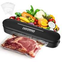 Vacuum Sealer Machine Dreamme Automatic Vacuum Food Sealer Heat Sealing Vacuum for Food Savers Starter Kit/Compact Design/Avoid Dehydration/Dry Moist Model Food Preservation/Simple To Use (Black)