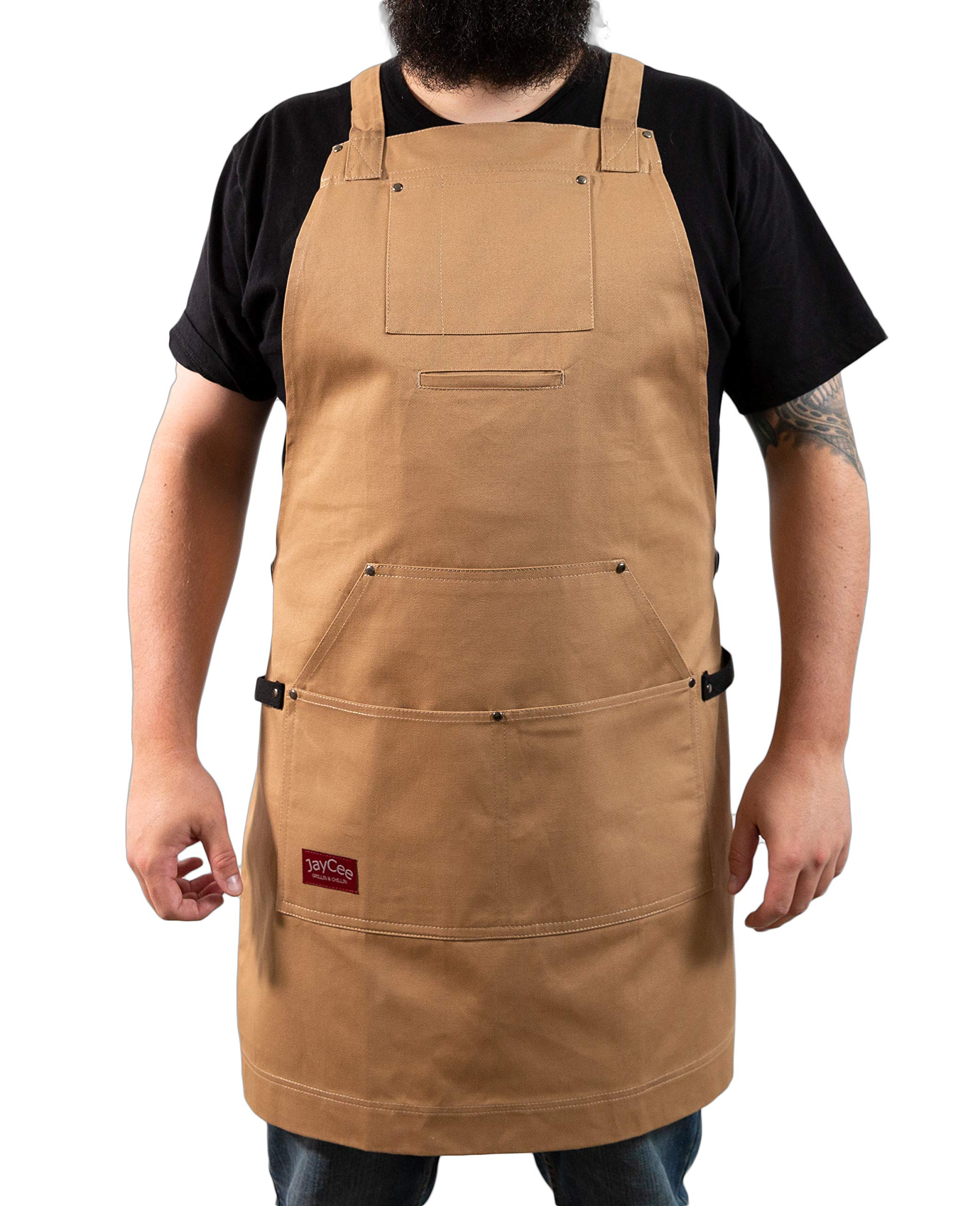Jaycee Grillin & Chillin Apron for BBQ, Grill, Chef, Work and Hobby, 5 Pockets-1 Hoodie Style, Cross-Back Design, Quick Release Buckle, 2 Towel/Tool Loops. Comfortable 10 oz. Cotton. tan Brown