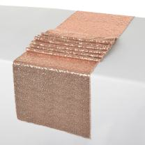 ShinyBeauty Sequin Table Runner Pack of 1 Rose Gold Table Cover Party Decorations Rose Gold 12x108-Inch Table Runners