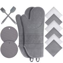 Oven Mitts and Pot Holders 12pc Sets,Extra Long Silicone Oven Mitts with Soft Cotton Lining ,500℉ Heat Resistant Non-Slip Flexible Oven Gloves ,Pot Holders and Kitchen Towels for Kitchen (Gray)