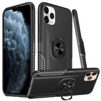 Dairnim iPhone 11 Pro Max Case, Ring Stand Dual Layer TPU Bumper Anti-Scratch Shockproof Support Magnetic Car Mount Holder Thin Soft Case
