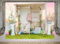 Kate Happy Easter Photography Backdrops 7x5ft Spring Wood Door Decoration Backgrounds Colorful Eggs Pink Flowers Scenic Backdrop Photoshoot Children Baby Photographic Props