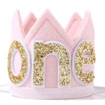 Baby ONE Crown for 1st Birthday - First Birthday Party Headband,Boy or Girl Glitter Crown, Newborn Photography Prop, Prince or Princess Souvenir and Gifts(Pink Crown Hat)
