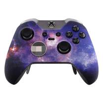 eXtremeRate Nebula Galaxy Patterned Faceplate Cover, Soft Touch Front Housing Shell Case, Comfortable Soft Grip Replacement Kit for Xbox One Elite Controller Model 1698 - Controller NOT Included