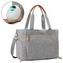 mommore Breast Pump Bag Grey Diaper Tote Bag with 15 Inch Laptop Sleeve Fit for Most Breast Pumps like Medela, Spectra S1,S2