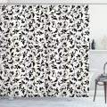 """Ambesonne Leaf Shower Curtain, Black and White Pattern with Swirled Skinny Branches with Leaves Old Fashioned Scroll, Cloth Fabric Bathroom Decor Set with Hooks, 70"""" Long, Black Cream"""