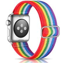 Getino Adjustable Elastic Bands Compatible with Apple Watch 42mm 44mm Series 6 5 4 3 2 1 iWatch SE, Soft Stylish Cute Stretch Bracelet Band for Women Men, Rainbow