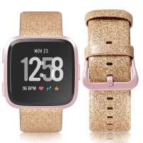 iHillon Leather Bands Compatible with Fitbit Versa/Versa 2/Versa Lite/SE, Soft Genuine Leather Classic Replacement Straps Wristbands for Women Men (Glistening Gold)