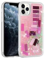 Wollony for iPhone 11 Pro Case for Women Girls Cute Eye Shadow Jigsaw Puzzle Makeup Bling Glitter Liquid Heavy Duty Shockproof Protective Cover Soft TPU Bumper Hard Back for iPhone 11 Pro 5.8inch Pink