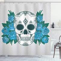 """Ambesonne Skull Shower Curtain, Skeleton Head with Oriental Paisley Details Roses Leaves Design, Cloth Fabric Bathroom Decor Set with Hooks, 75"""" Long, Fern Green"""