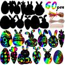 Felice Arts 60Pcs Scratch Ornaments Magic Color Scratch Art Rainbow Paper Bunny Eggs Carrot Decoration for Home Tree Classroom Birthday Party Decoration with Scratch Tool Children's Day Party Favors