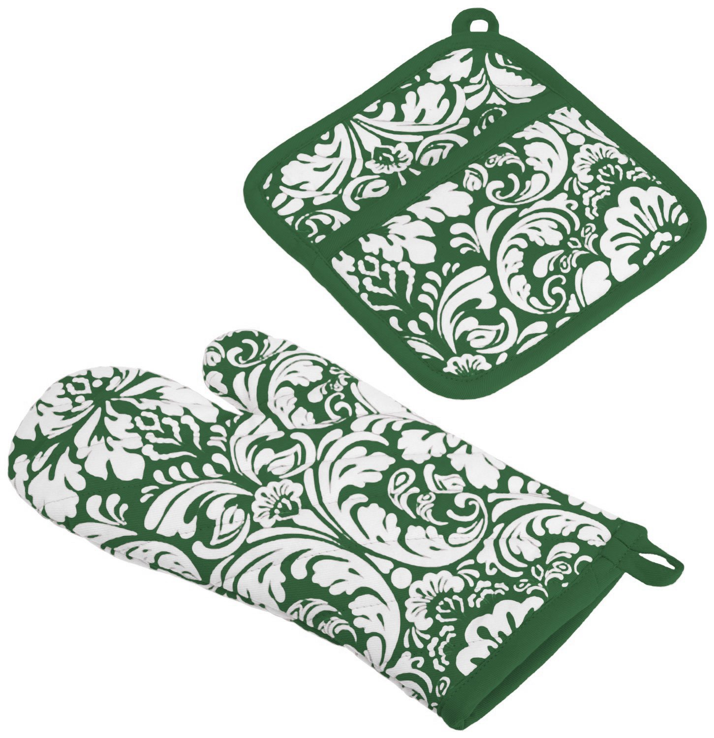 """DII Cotton Damask Oven Mitt 12 x 6.5"""" and Pot Holder 8.5 x 8"""" Kitchen Gift Set, Machine Washable and Heat Resistant for Cooking and Baking-Dark Green"""