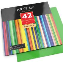 """ARTEZA Self Adhesive Vinyl Sheets, 12""""x12"""", Assorted Colors, Pack of 42, Waterproof and Easy to Weed & Cut, for Indoor & Outdoor Projects"""