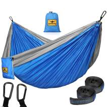 KEPEAK Camping Hammock Double & Single Portable Hammocks with Tree Straps, Lightweight Nylon Parachute for Indoor Outdoor Backpacking Survival, Backyard, Patio, Travel