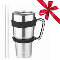 Stainless Steel Tumbler Travel Mug - 30 Oz Tumbler Insulated Coffee Mug with Removable Handle No-Spill Lid and 2 Stainless Steel Straws (Black Grip)