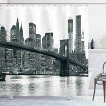 """Ambesonne Modern Shower Curtain, Brooklyn Bridge Sunset Manhattan American New York City Famous Town Image, Cloth Fabric Bathroom Decor Set with Hooks, 84"""" Long Extra, Black and White"""