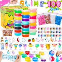 Theefun DIY Slime Kit, 108Pcs Unicorn Slime Making Kits for Girls Boys, Slime Supplies for Kids Art Craft, Includes 48 Glitter Powder, 20 Crystal Slime, 4 Cloud Slime, Fruit Slice, Foam Balls